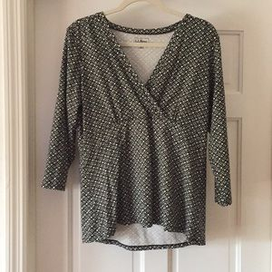 LL Bean 3/4 sleeve black print to size large
